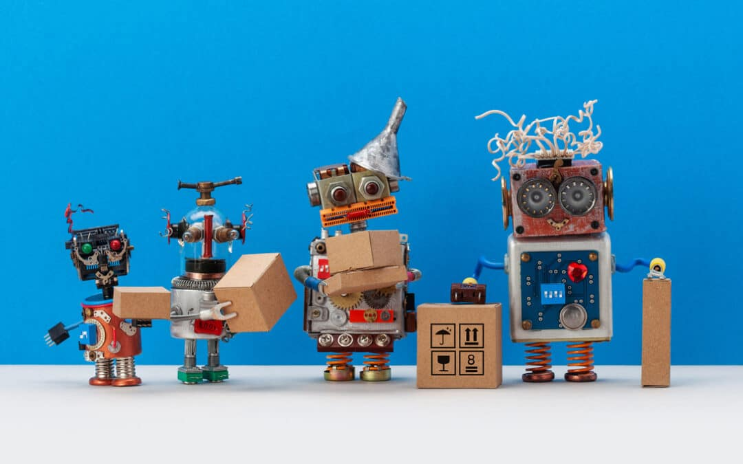 Robots carrying brown box packages