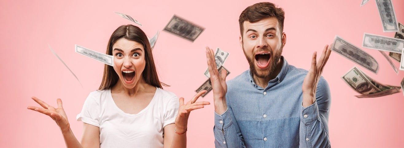 excited people with money